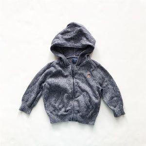 BABygap blue/gray knit hooded zip up VGUC 6-12m